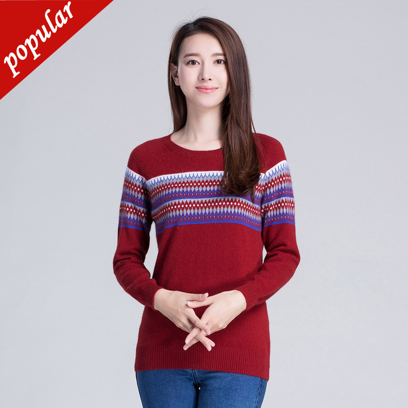 And Autumn New Pattern Maam Mountain Cashmere Fashion Korean Stripe Jacquard Weave Neck Pullover Unlined Upper Sweater