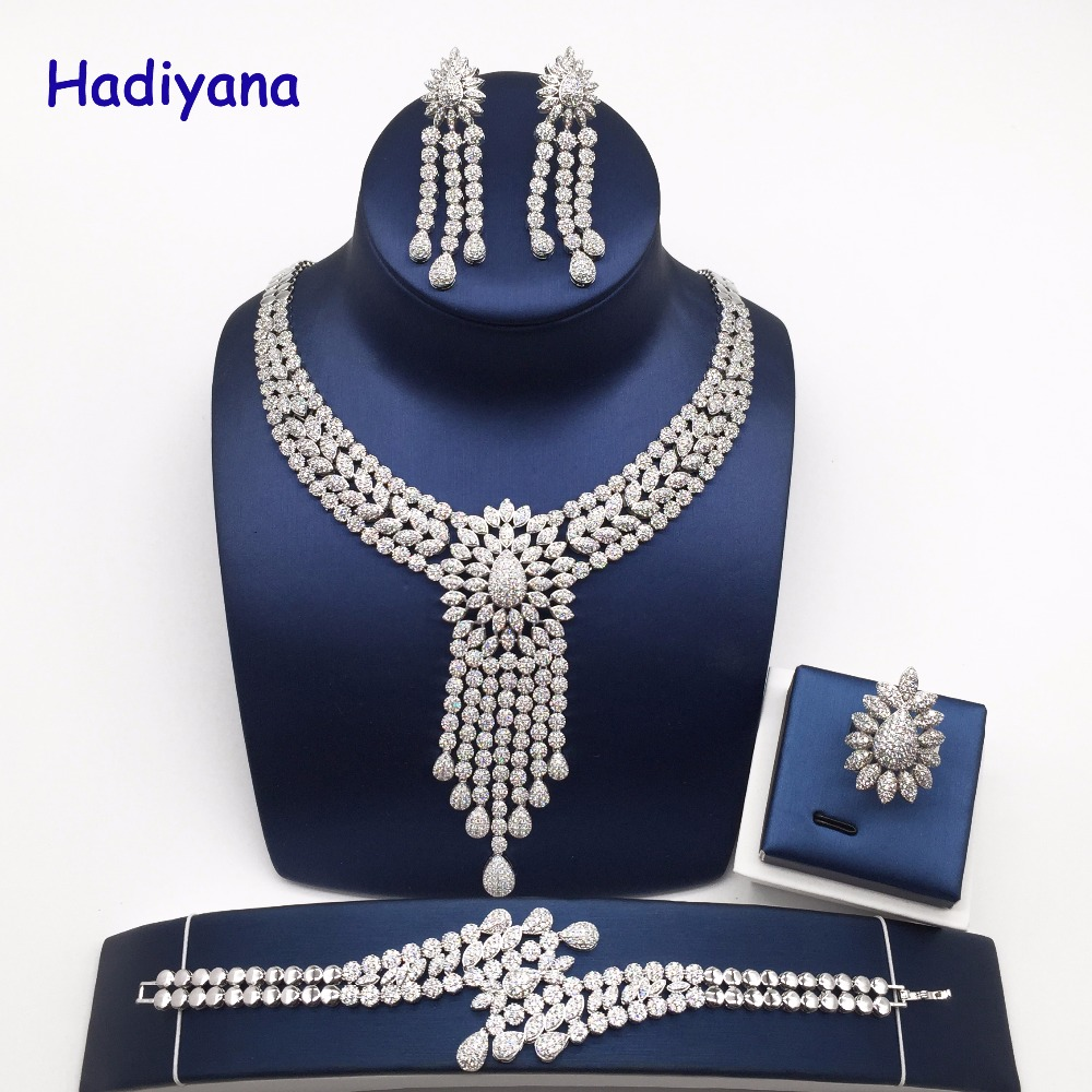 Nankiya New Tassel Drop Women Wedding Jewelry Sets Cubic Zirconia Saudi Arabia Statement Necklace 4pcs Set