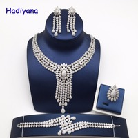 Nankiya New Tassel Drop Women Wedding Jewelry Sets Cubic Zirconia Saudi Arabia Statement Necklace 4pcs Set Factory Price NC733