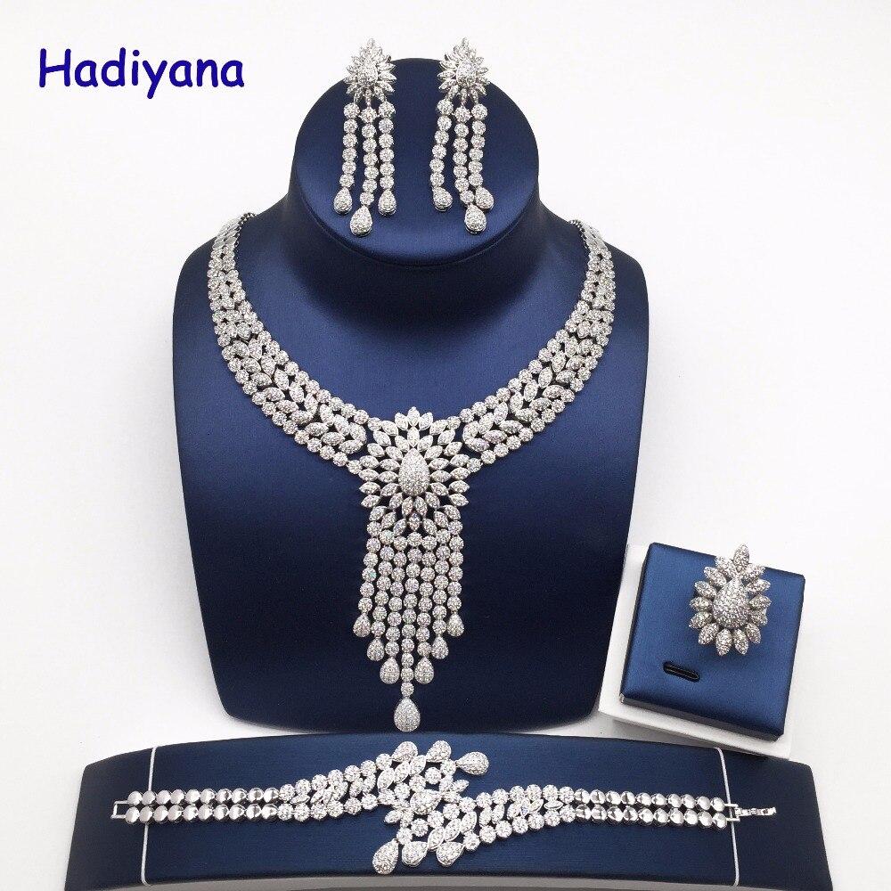 Nankiya nouveau gland goutte femmes mariage bijoux ensembles cubique zircone arabie saoudite déclaration collier 4 pièces ensemble prix usine NC733