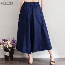 03f59cd9ca Plus ZANZEA mujeres Retro pierna ancha cintura elástica Palazzo Culottes  suelta Casual pantalones algodón Lino Harem