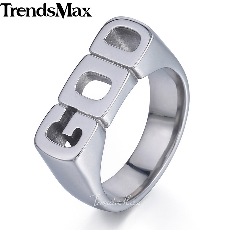 Men's Ring GOD Silver Color 316L Stainless Steel Band Ring for Men Wholesale Dropshipping Jewelry 2018 HR423 gj303 rhinestones 316l stainless steel couple s ring black silver size 9 7 2 pcs