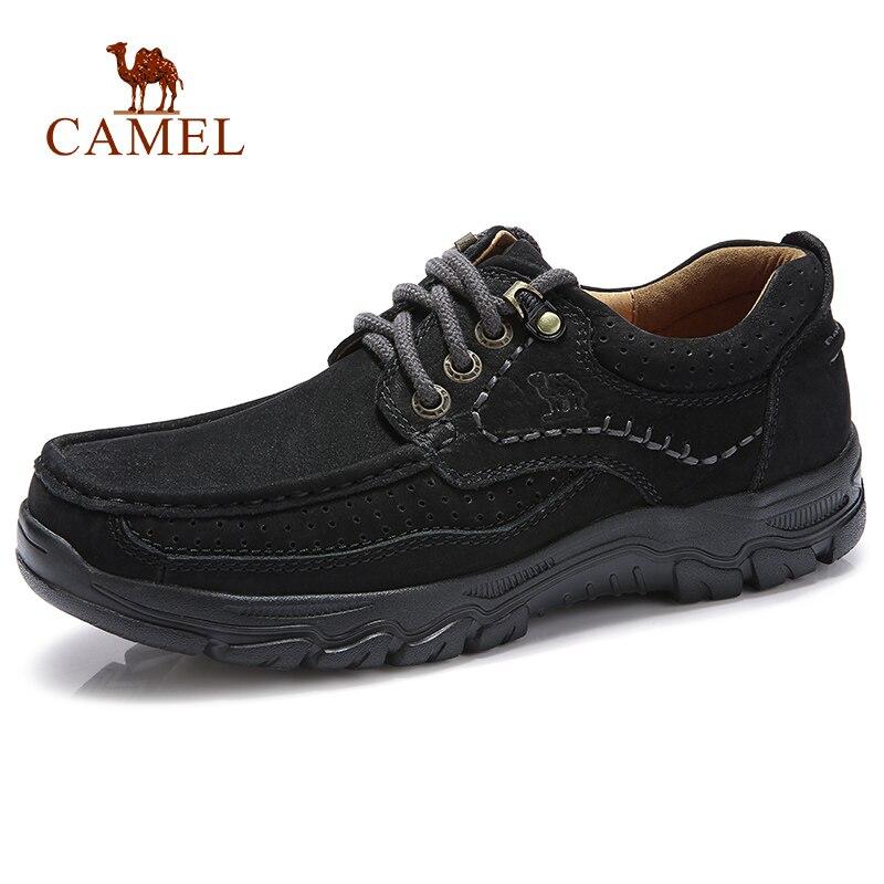 CAMEL ของแท้หนังผู้ชายรองเท้าสบายๆนุ่มสบาย Cowhide กลางแจ้งสีดำ Retro ชายรองเท้า mocassin-ใน รองเท้าลำลองของผู้ชาย จาก รองเท้า บน   1