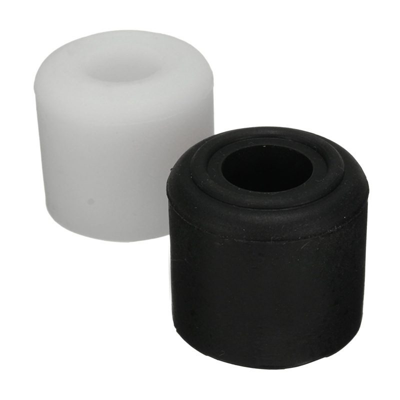 MTGATHER 1Pcs Black White Rubber Door Stop Stopper Cylinder Jam Wedge Floor Holder 28mm
