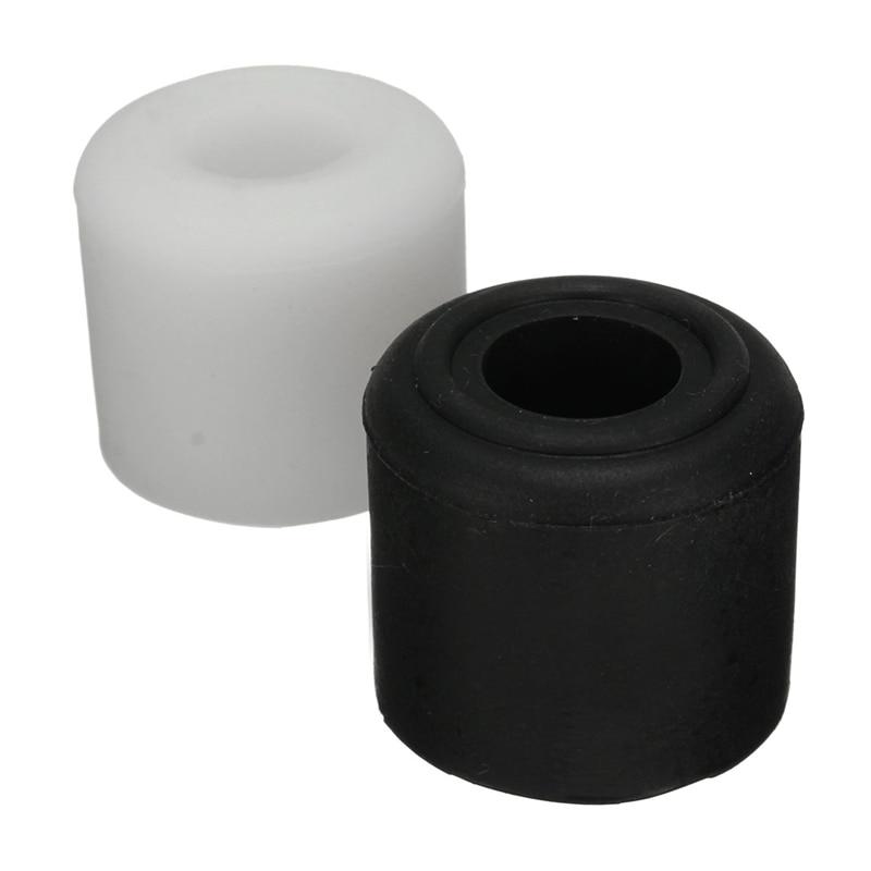MTGATHER 1Pcs Black White Rubber Door Stop Stopper Cylinder Jam Wedge Floor Holder 28mm