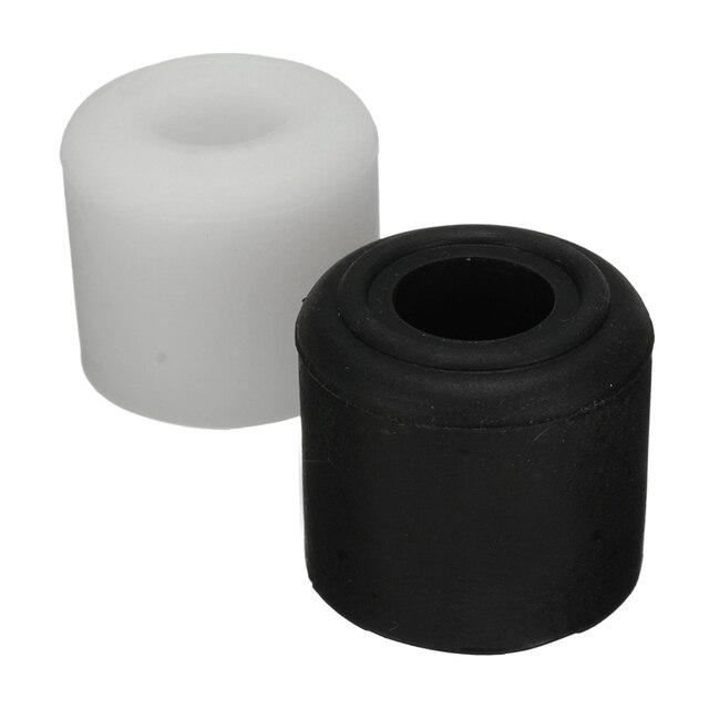 MTGATHER 1Pcs Black White Rubber Door Stop Stopper Cylinder Jam