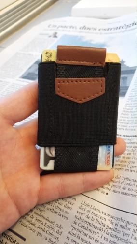 Men Women Small Minimalist Business Card Holder Elastic Belt Fixed Credit Cardholder Porte Carte Money Wallet Purse photo review