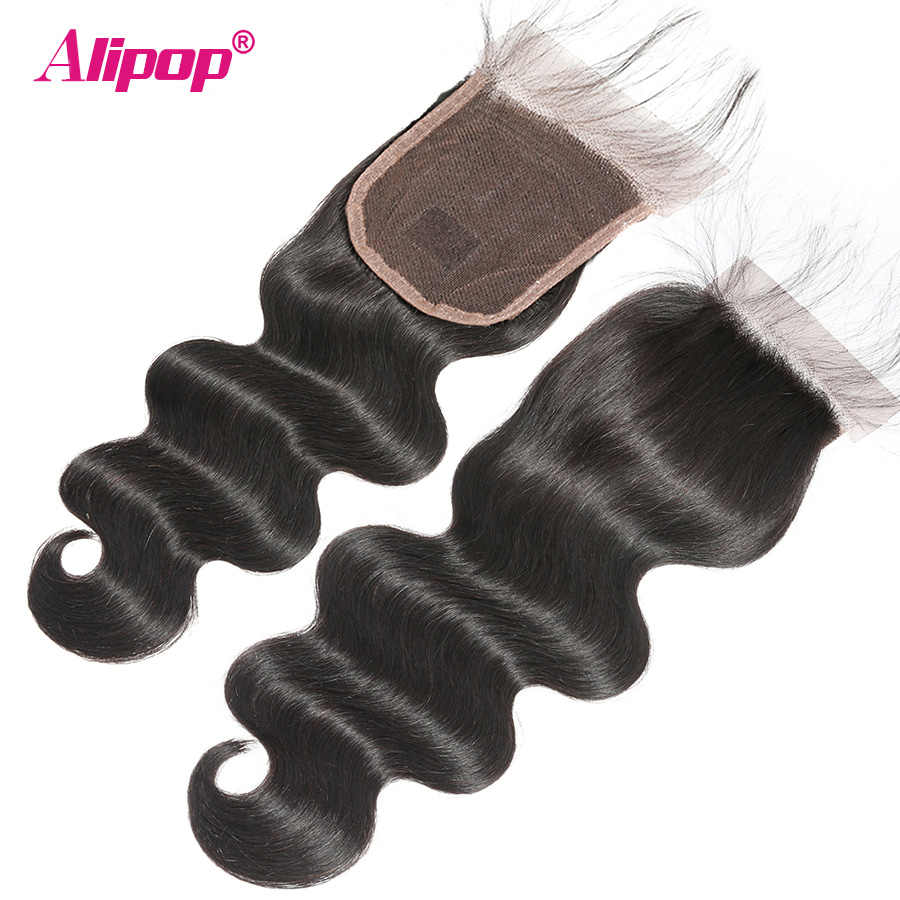 5x5 Spitze Schließung Brasilianische Haar Körper Welle Verschluss Mit Baby Haar ALIPOP Remy Menschenhaar Freie Mittel 2 drei 3 Teil Verschluss