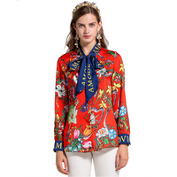High Quality Plus Size XXXL Bohemian Vintage Blouse Floral Printed Bow Collar Loose Designing Summmer Women