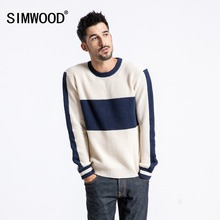 SIMWOOD New 2018 Winter Sweater Men Fashion Slim Fit Contrast Color Knit Pullover Plus Size Striped Brand Clothing Male 180549