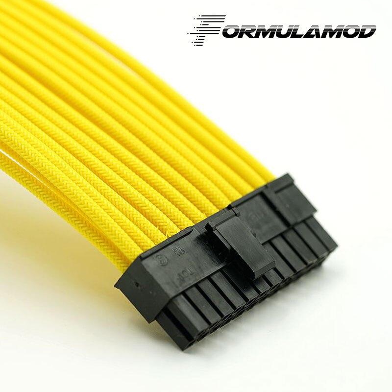 FormulaMod Fm-ATX24P-A, ATX 24Pin материнская плата удлинитель, 18AWG 24Pin многоцветные соответствующие кабели расширения - Цвет лезвия: Yellow