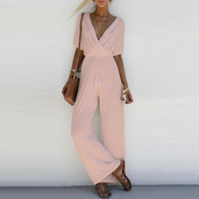 Fashion Women V Neck Loose Playsuit Party Ladies Romper Short Sleeve Long Jumpsuit S-xl