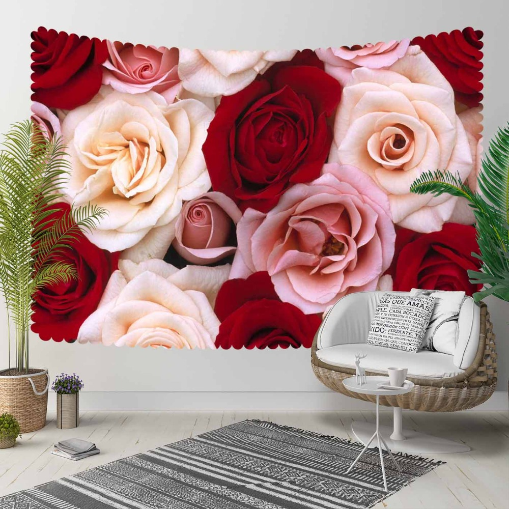 Else Red Pink Cream Roses Flowers Romantic Love 3D Print Decorative Hippi Bohemian Wall Hanging Landscape Tapestry Wall Art