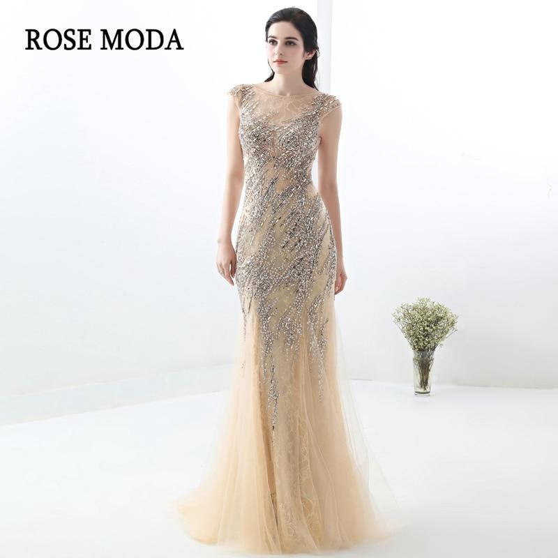 c1fb70813a6 Rose Moda Lace Mermaid Prom Dress 2018 Champagne Bling Long Formal Prom  Dresses Custom Made
