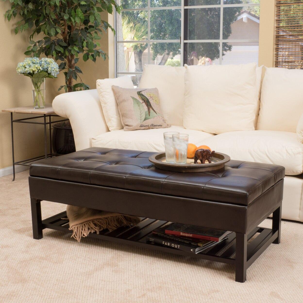 Felix Brown Wood Rectangle Storage Ottoman Coffee Table With Bottom Rack