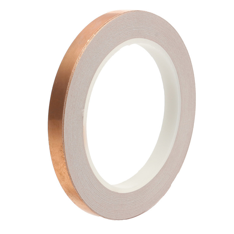 1Roll 10mm X 20m EMI Copper Foil Shielding Tape Conductive Self Adhesive Barrier Guitar Slug Snail Barrier Guitar Accessories copper foil conductive adhesive double conductive shielding emi anti interference conduct electricitytape 5cm x30m free shipping