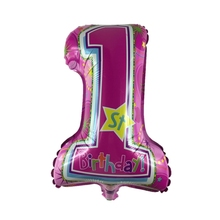 4PCS Αριθμός 1 Φουσκωτά μπαλόνια Κινούμενα σχέδια από φύλλο αλουμινίου 1ο παιδικό γενέθλιο Ντους μωρού No.1 Μπαλόνια για διακοσμήσεις για πάρτι γενεθλίων (