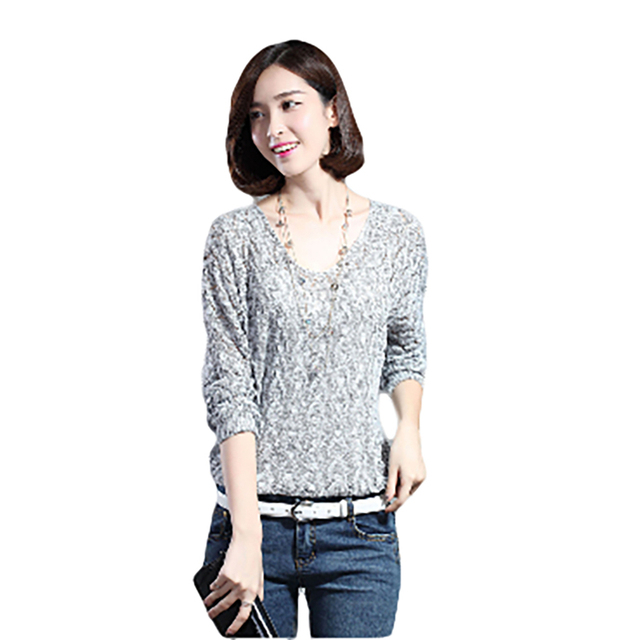 96f8af4727a5c New Women s Hollow Out Bat Knitted sweater Loose Long Sleeve V Collar Sweater  Bat sleeve v-neck Pullovers