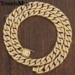 Image 2 - Männer Halskette Hip Hop Gold Miami Iced Out Curb Kubanischen Kette Halskette Für Frau Männlich Schmuck Dropshipping Großhandel 14mm KGN455