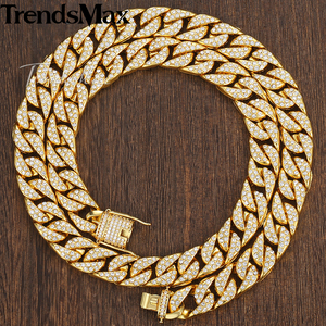 Image 2 - Mens Necklace Hip Hop Gold Miami Iced Out Curb Cuban Chain Necklace For Woman Male Jewelry Dropshipping Wholesale 14mm KGN455