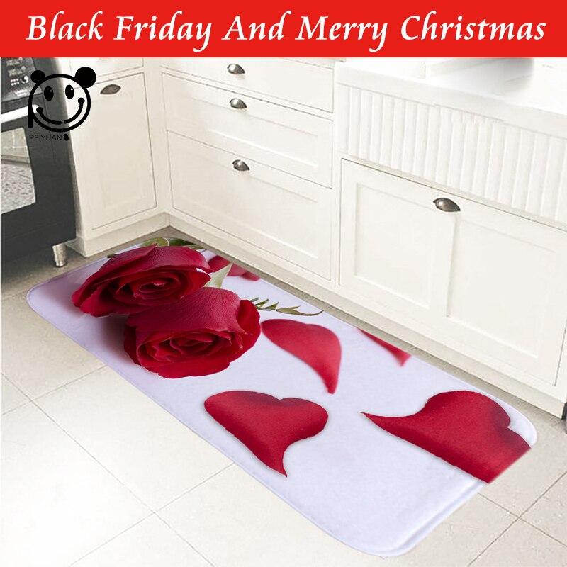 PEIYUAN Rose imprimé intérieur porte tapis flanelle pied Pad anti-dérapant tapis toilette Tapete tapis pour cuisine couloir Rose 61x186 cm