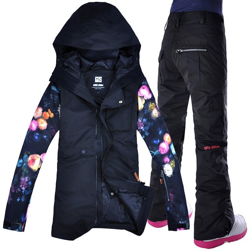 2018 GSOU neige femmes Ski costume Snowboard veste pantalon Ski manteau pantalon hiver costume coupe-vent imperméable Super chaud fleur Style
