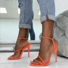 цена на Neon Orange Stiletto Heels Sandals Women Narrow Band Sexy Sandals Gladiator Pointed Toe Thin High Heel Sandals Shoe Mujer Dress
