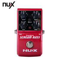 NUX Scream Bass Overdrive Guitar Effect Pedal Gain Level High Low Controls Analogue Circuit Gain Mix True Bypass 2 Band Equalize