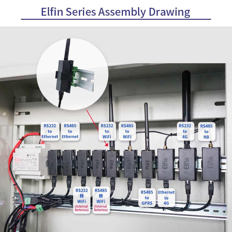 Dispositivo de puerto serie HF más pequeño Elfin-EG10 se conecta a la red Modbus TPC función IP RJ45 RS232 al servidor serie GSM GPRS