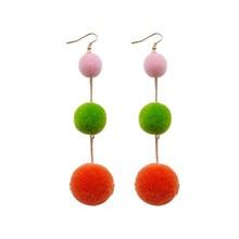 Simple fashion plush ball long tassel earrings color hair bulb fashionable womens female stud