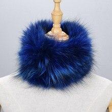 Women scarves for winter natural silver fox fur scarf warm collar brand new fashion shawl female ring