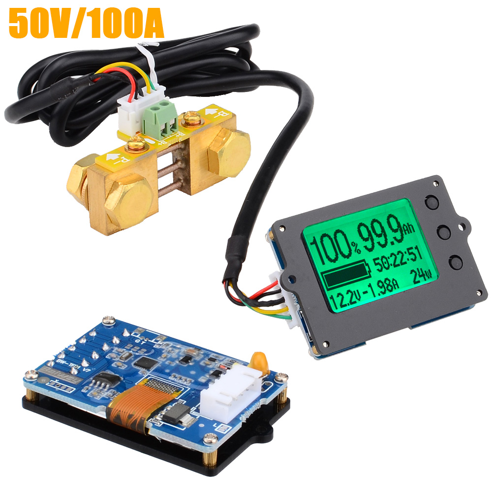 TF01N 50V 100A Precise Real Capacity Tester Coulomb Counter Coulometer For LiFePO4 Lithium LiPo LiIon Battery