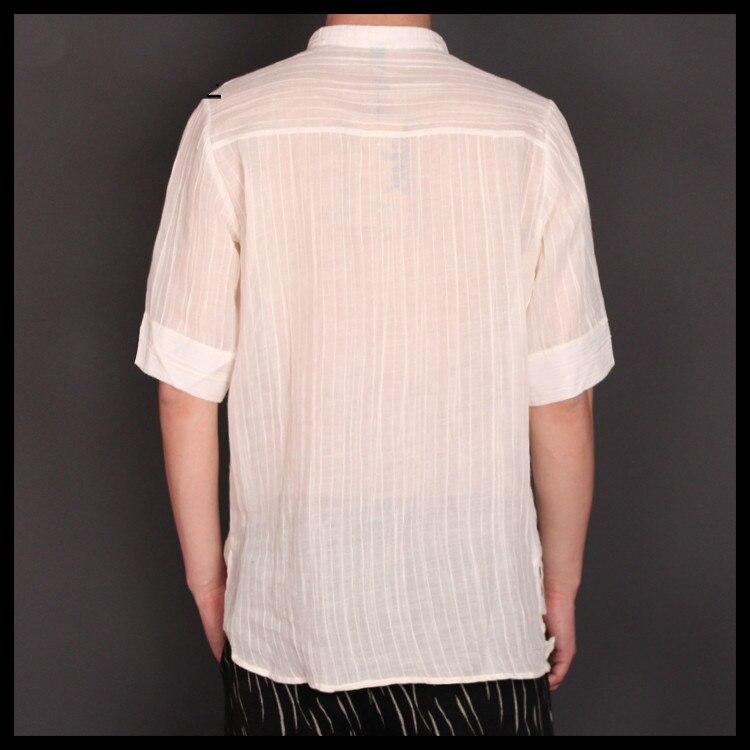 Courtes Liling Mode Noir De Cheveux Ramie Styliste Nouveaux Chemise Costumes Hommes Mince À D'été Manches Vêtements Bande blanc 2018 Matériau xAPOqgC
