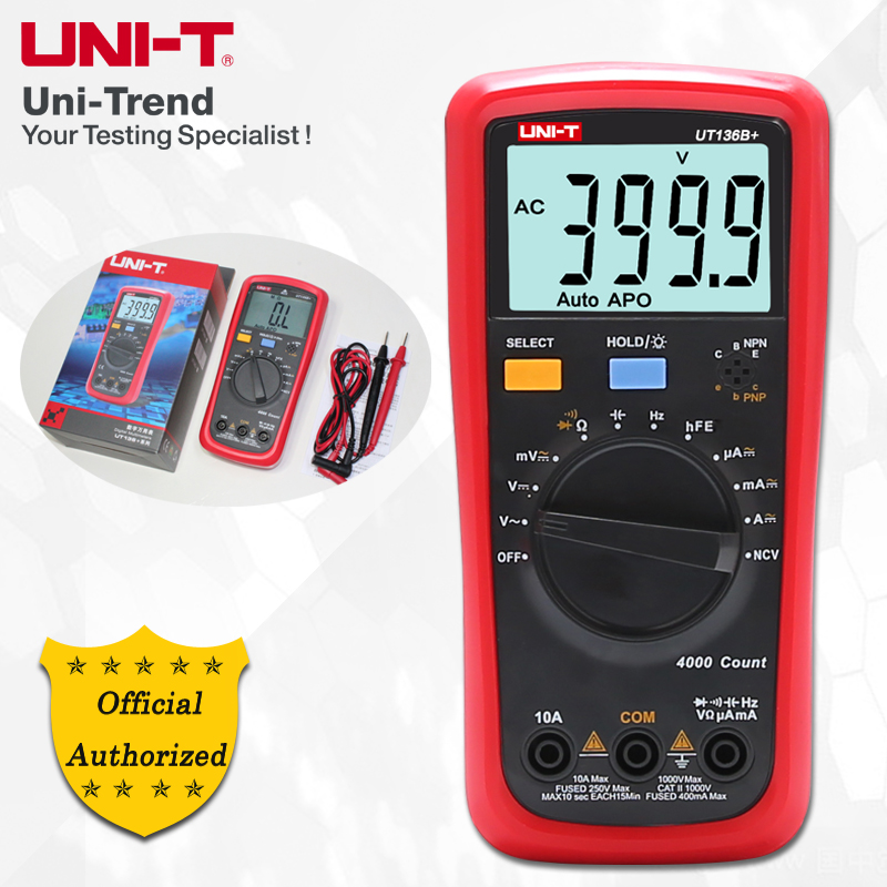 UNI-T UT136B+/UT136C+ Auto Range Digital Multimeter; Resistance/Capacitance/Frequency/hFE/NCV/Temperature Test цена