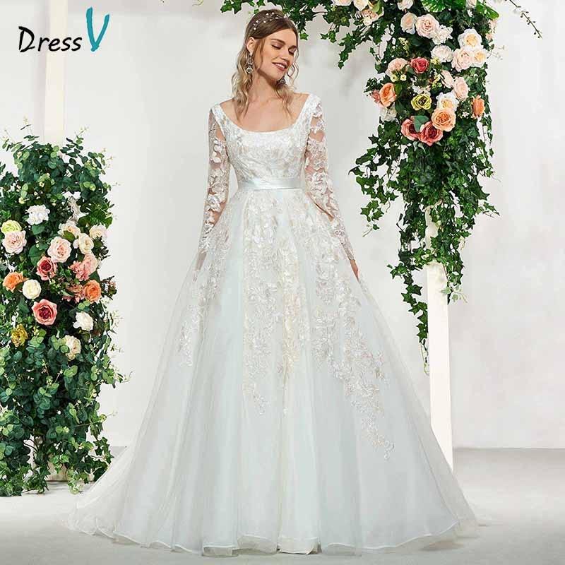 Dressv élégant ivoire encolure carrée manches longues appliques robe de bal robe de mariage de plancher longueur simple robes de mariée robe de mariée
