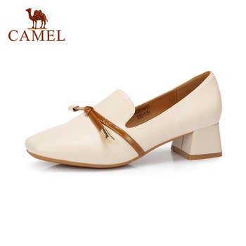 CAMEL Women Spring New Elegant Single Shoes For Ladies Shallow Fashion Square Toe Pumps Mature Casual Soft Leather Dress Shoes