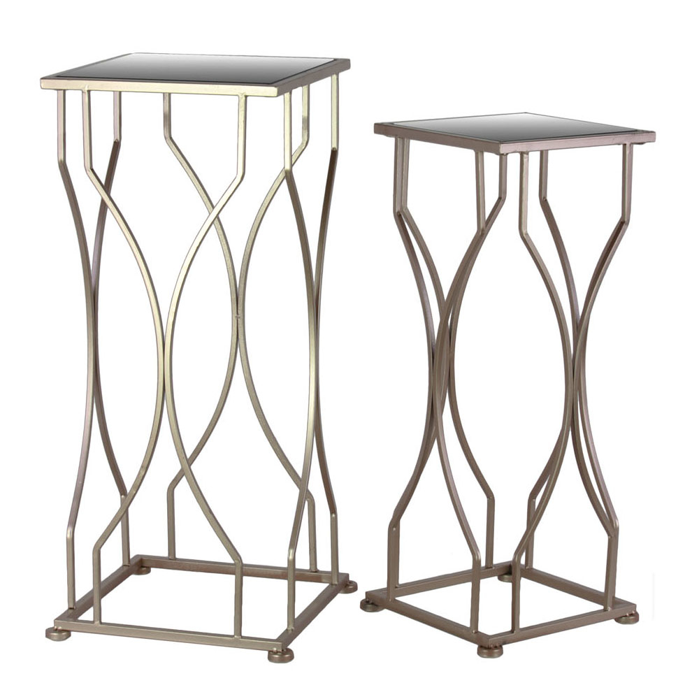 Urban Trends Metal Accent Table with Mirror Top and Square Base Set of Two Coated Finish цена 2017