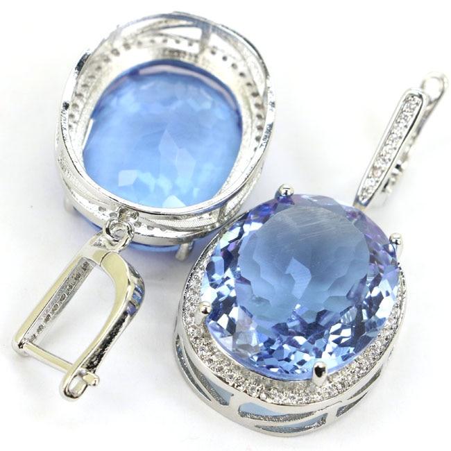 Elegantiškas turtingas mėlynas violetinis Tanzanitas, CZ vestuvių - Mados papuošalai - Nuotrauka 4