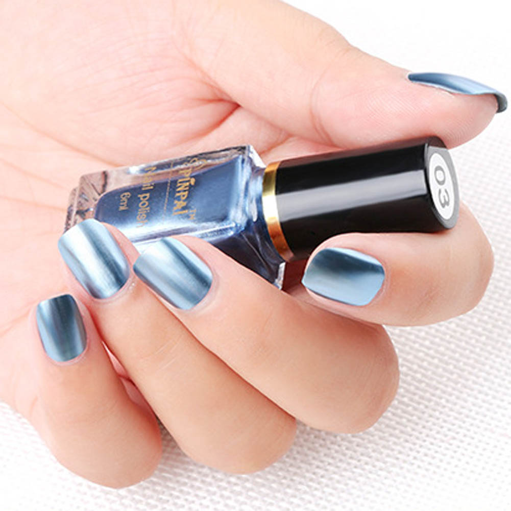 Rainbow Metallic Nail Polish: 1pcs 6 Ml Colorful Mirror Effect Metal Nail Polish Shinny
