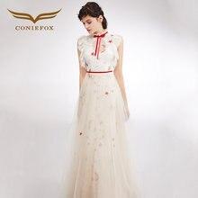 CONIEFOX 33201 Nuovo Bianco Star Luna modello vestiti da promenade di Modo  del partito abito da sera Una Linea di Abiti Lunghi 73ea651f1d9