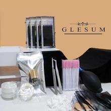 GLESUM Preofessional Lash Extension Kit 1Set 12different Ingredients make-up Tools for grafting Eyelashes Makeup container