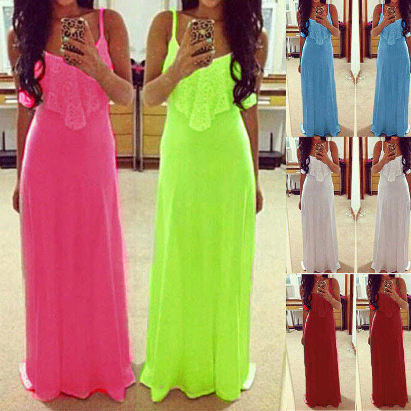 Women Casual Party Long Dress Lace Stitching Candy Neon Color Plain ...