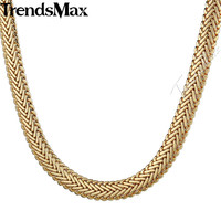 9mmX63cm Snake Herringbone Foxtail Yellow Rose Gold Filled Necklace Unisex Womens Girls Boys Mens Chain Jewelry
