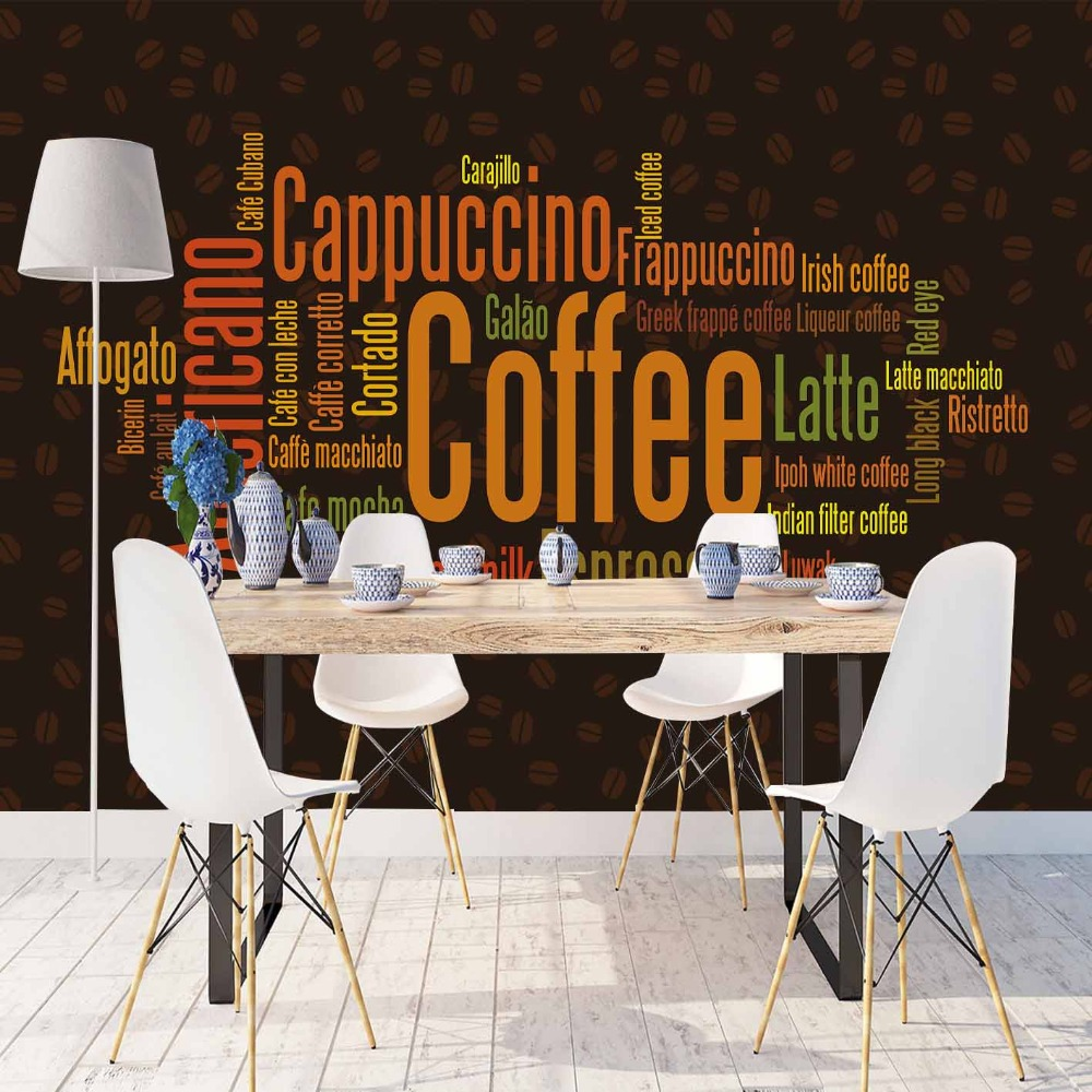 Else Black Floor Brown Yellow Orange Coffee Writen 3d Print Photo Cleanable Fabric Mural Home Decor Kitchen Background Wallpaper