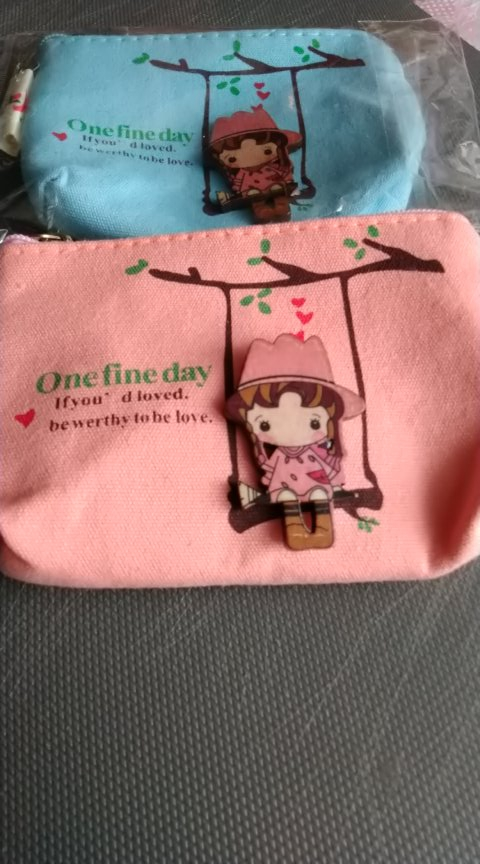 2019 Cute Canvas Coin Bag Zipper Wallet Card Purse Zip Key Case Money Clip Lovely Girls The Swing Holder Purse Small photo review