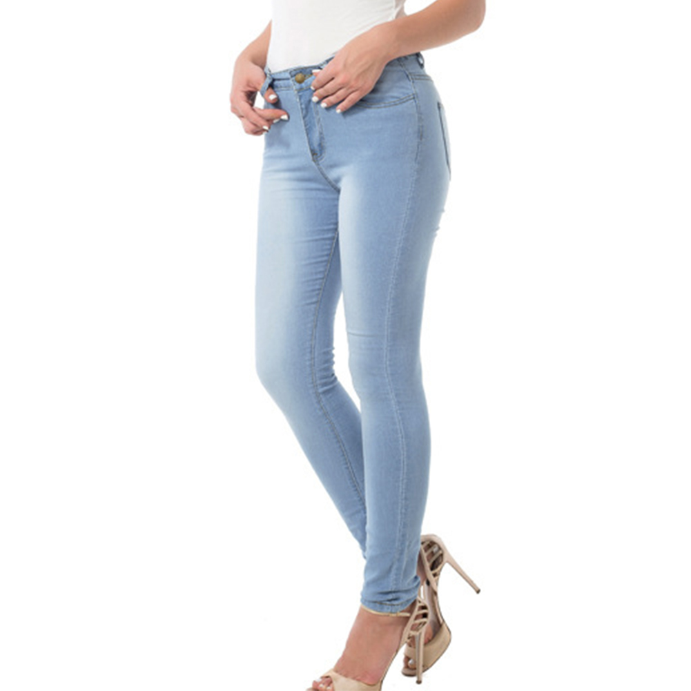 Women Casual Elastic High Waist Single-breasted Pocket Skinny Jeans Pencil Pants