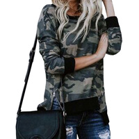 Fashion Women Camouflage T Shirt 2018 New Fall Cute Young Girl Printed Tee Shirt Femme Long Sleeve Spring Tops Creative