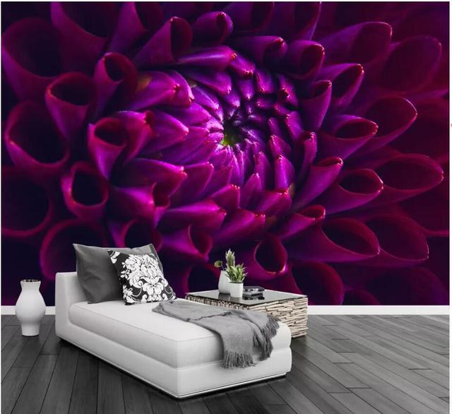 purple wall deep flower background mural dahlia 3d walls decor custom zoom wallpapers mouse
