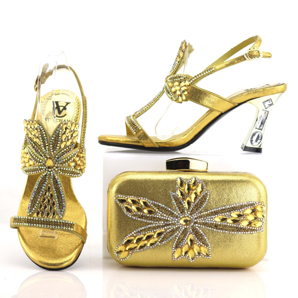 3 inches gold shoes bag matching set african aso ebi shoe and bag matching set italian shoes and bag free shipping SB8205-4