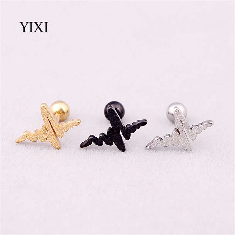 YIXI 2 Pcs Anti Allergy Stainless Steel Earrings For Women Trendy Frosted Wave Brincos Pendientes Silver Gold Black Men Earing